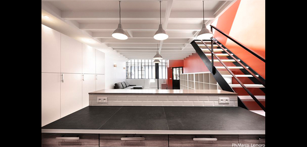 Rénovation de loft à Paris et région parisienne : séjour et cuisine